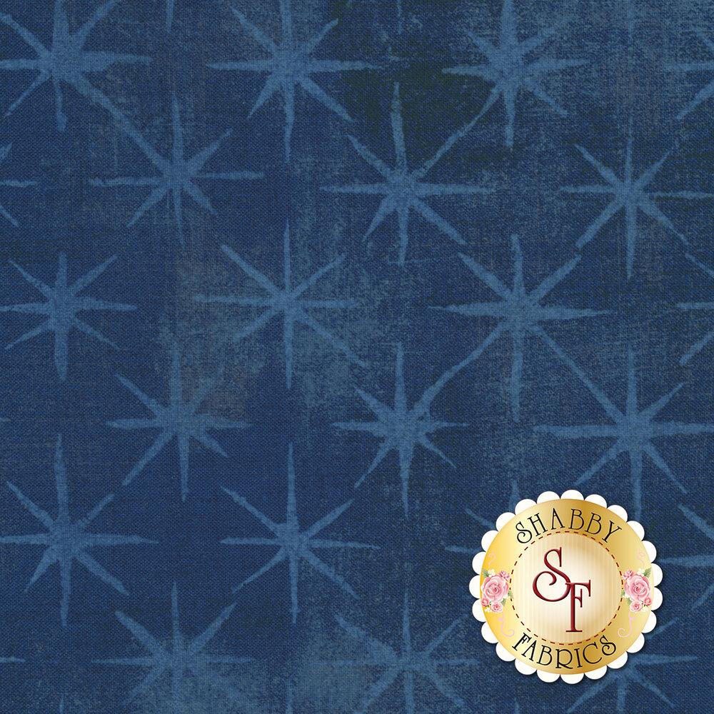 Light blue stars on textured blue background | Shabby Fabrics