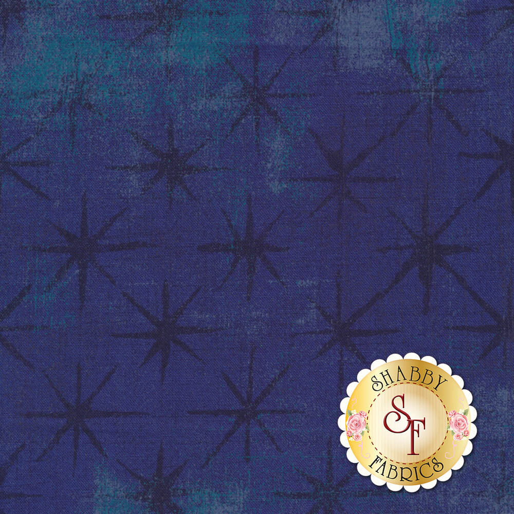Tonal and textured blue fabric with stars all over | Shabby Fabrics