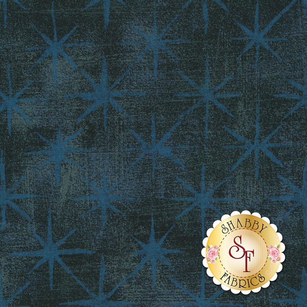 Dark navy fabric with blue stars on grunge textured background | Shabby Fabrics