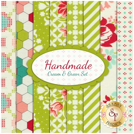 Handmade  8 FQ Set - Cream & Green Set by Bonnie & Camille for Moda Fabrics
