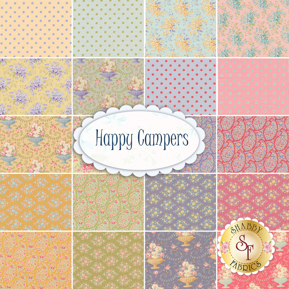 Collage of fabrics included in Happy Campers fat quarter set | Shabby Fabrics