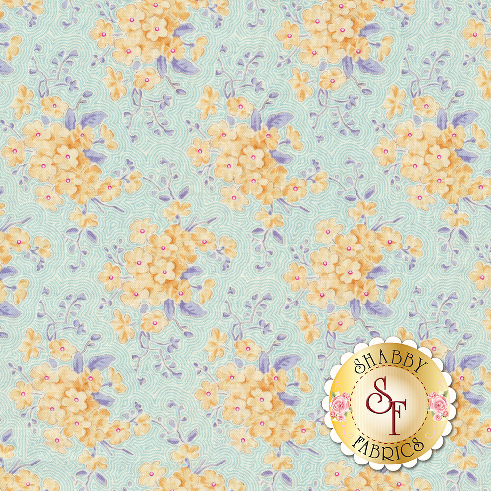Yellow flowers with blue leaves on teal and white lined background | Shabby Fabrics