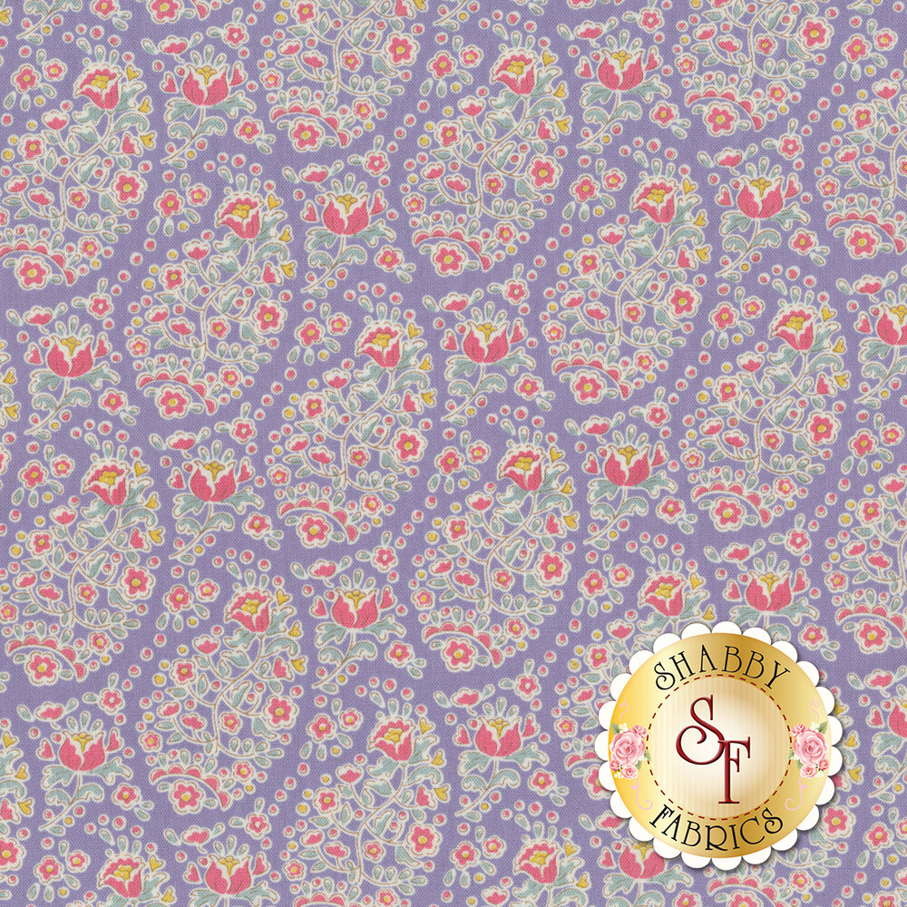 Colorful flower design all over blue | Shabby Fabrics