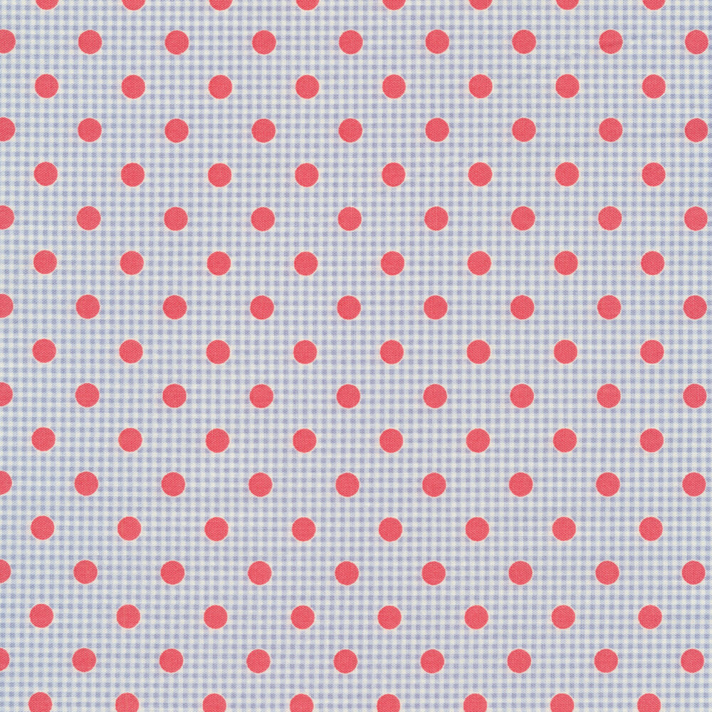 Blue gingham design with pink polka dots | Shabby Fabrics