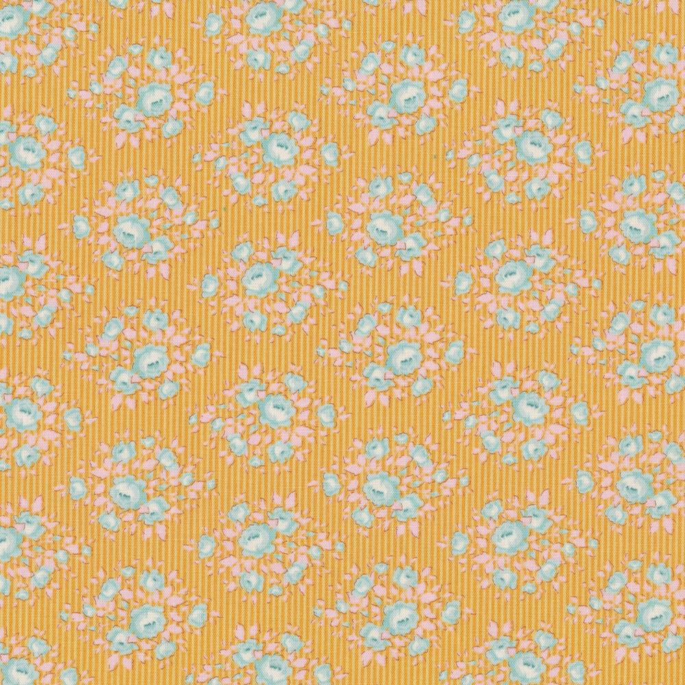 Tonal yellow striped fabric featuring aqua flowers   Shabby Fabrics