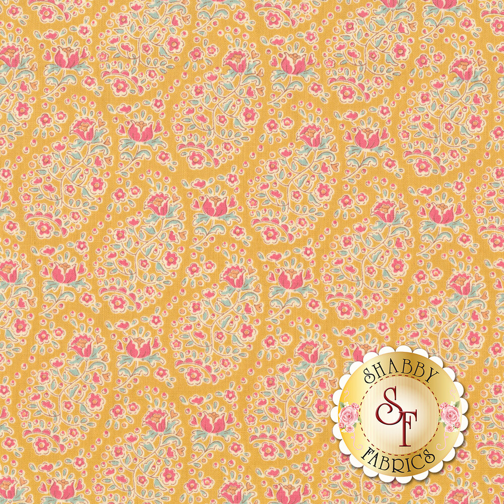 Colorful flower design all over yellow | Shabby Fabrics