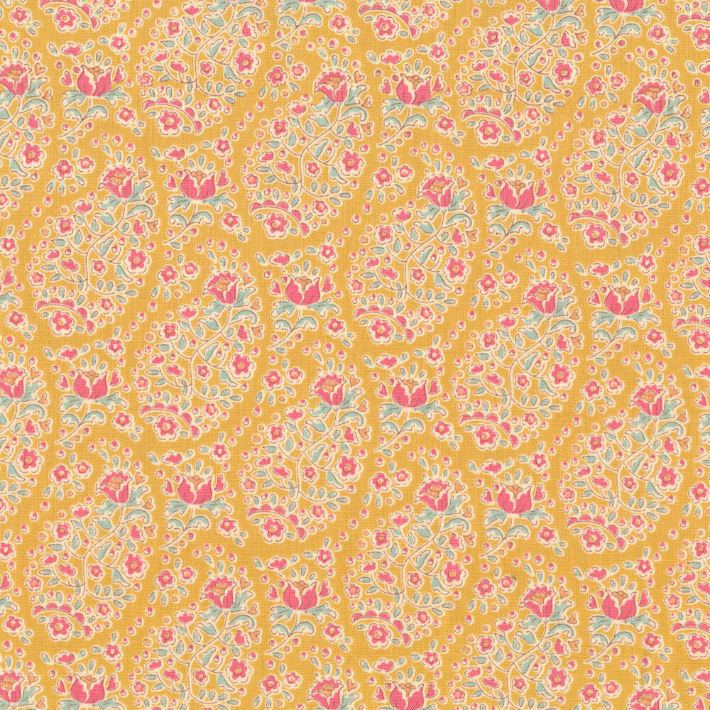 Colorful flower design all over yellow   Shabby Fabrics