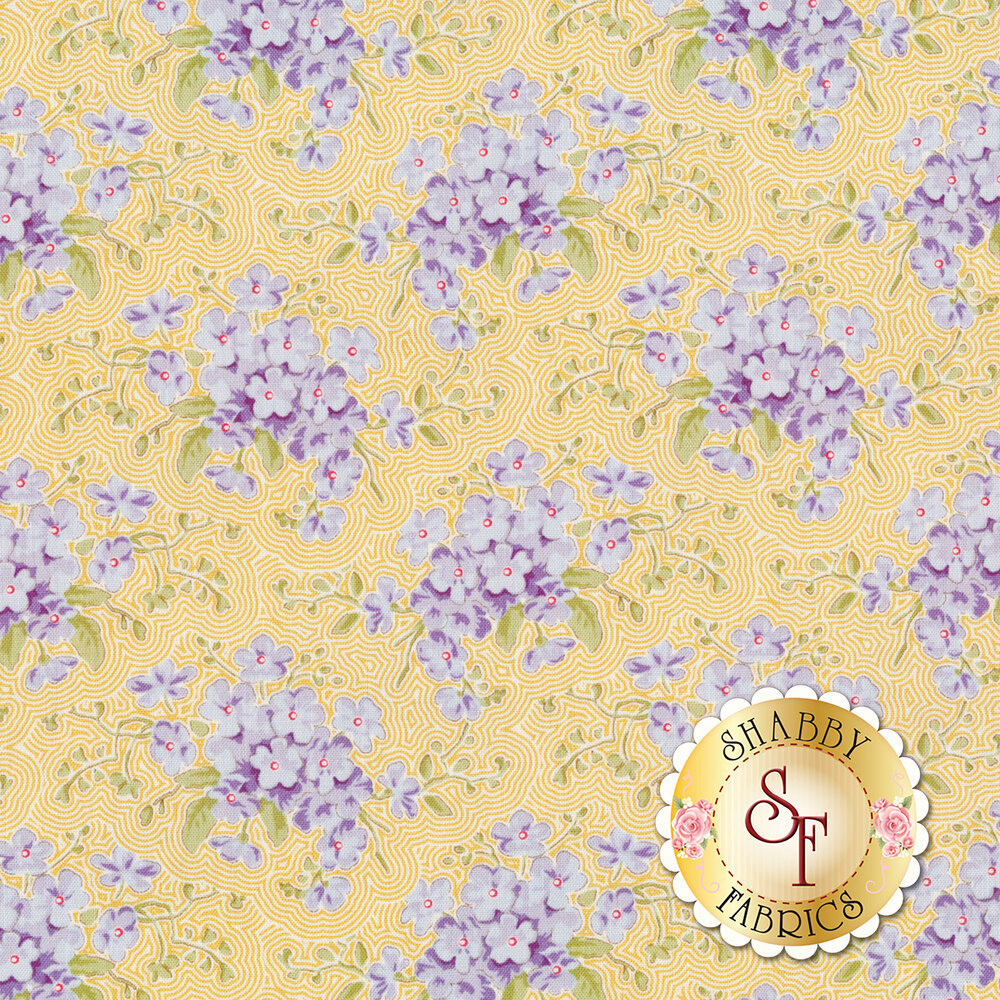 Blue flowers with green leaves on yellow and white lined background | Shabby Fabrics