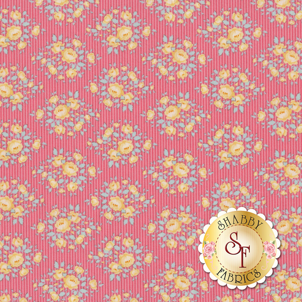 Tonal pink striped fabric featuring yellow flowers | Shabby Fabrics