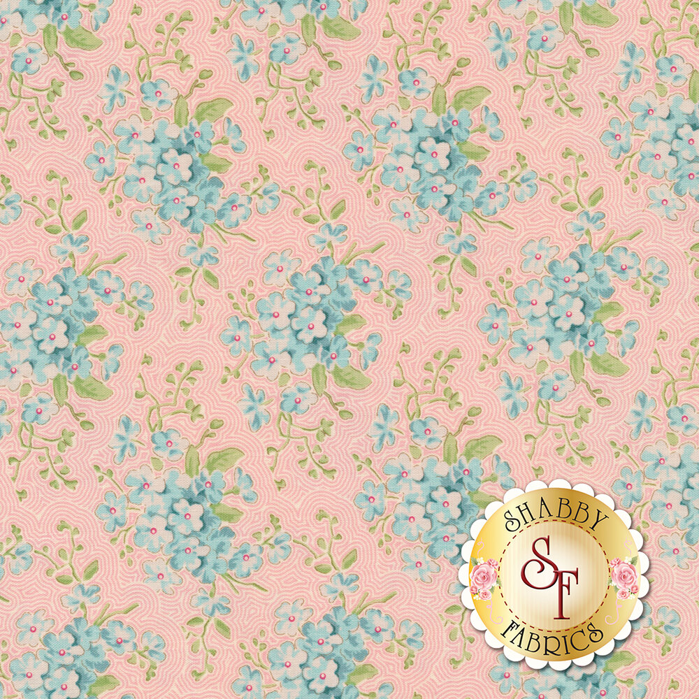 Teal flowers with green leaves on pink and white lined background | Shabby Fabrics