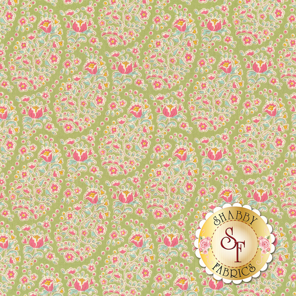Colorful flower design all over green | Shabby Fabrics