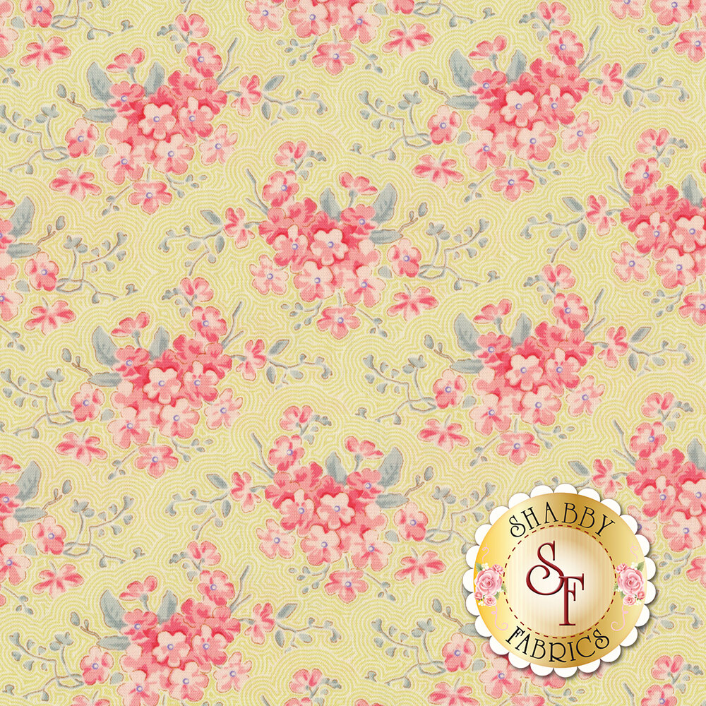 Pink flowers with aqua leaves on green and white lined background | Shabby Fabrics