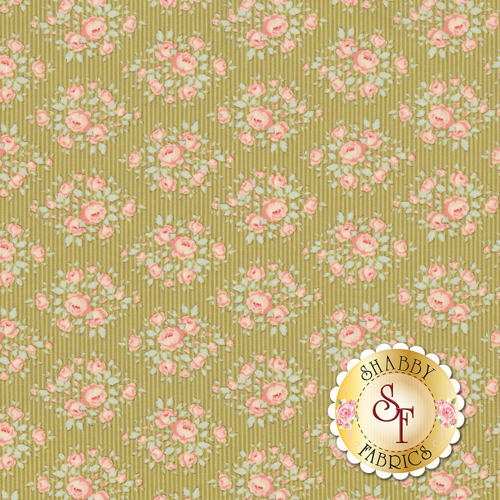 Tonal green striped fabric featuring pink flowers | Shabby Fabrics