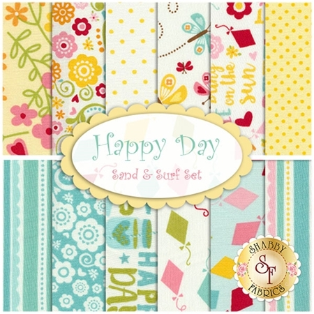 Happy Day  12 FQ Set - Surf & Sand Set by Lori Whitlock for Riley Blake Designs
