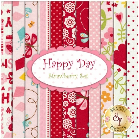 Happy Day  11 FQ Set - Strawberry Set by Lori Whitlock for Riley Blake Designs