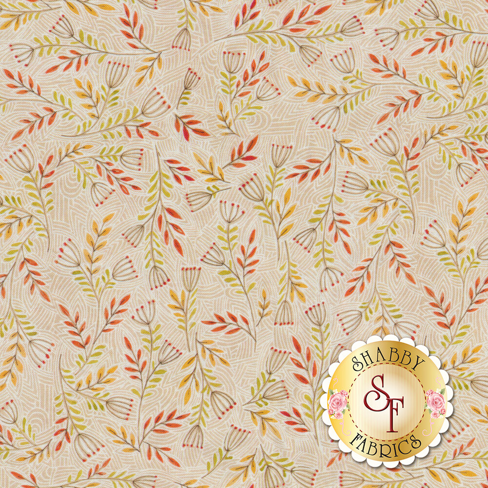Tossed flowers over a textured striped background | Shabby Fabrics