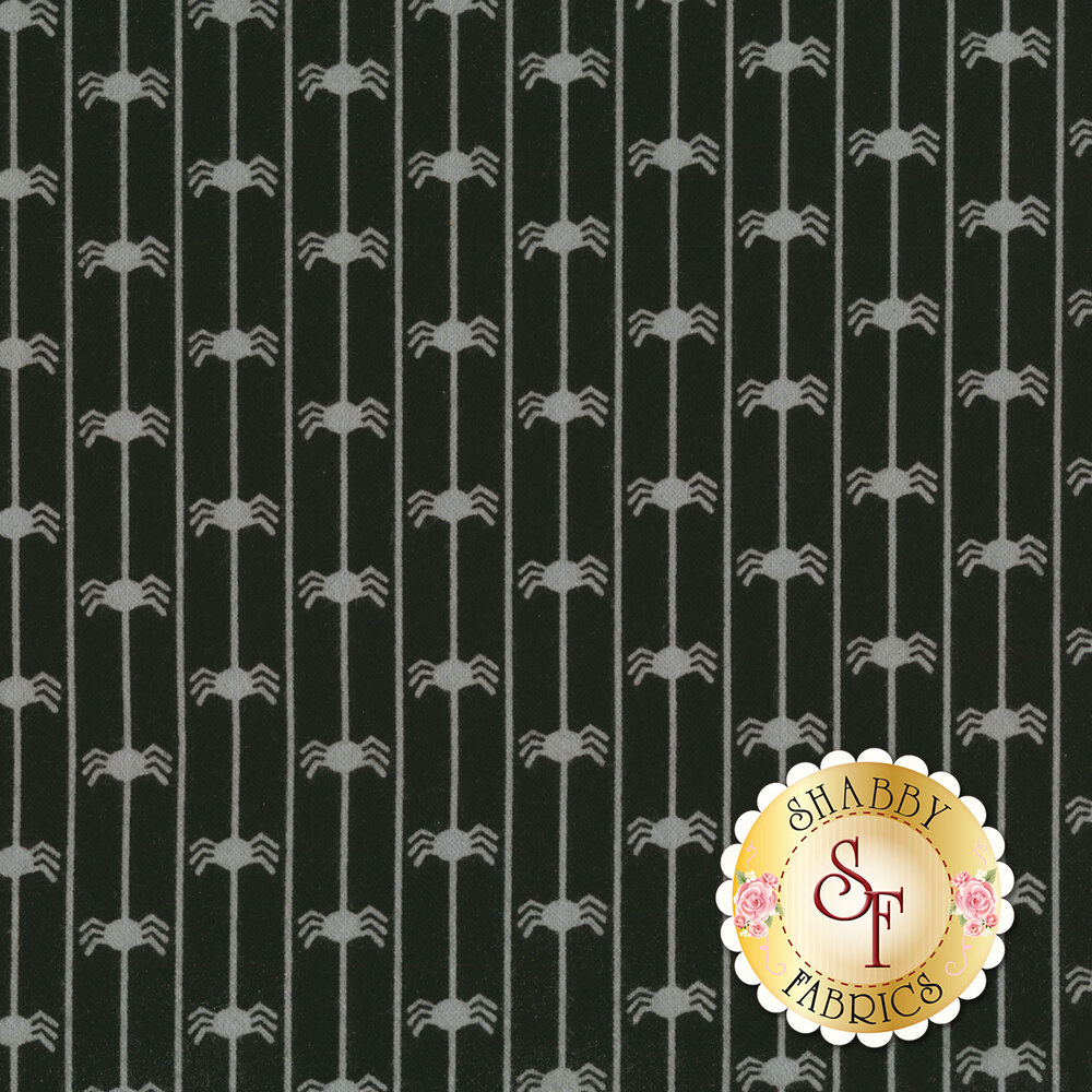 Grey spiders hanging from silk on a black background | Shabby Fabrics