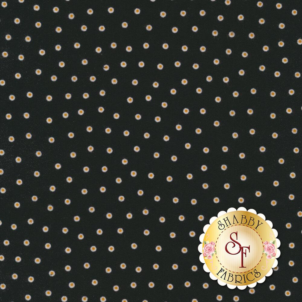 White and orange polka dots on a black background | Shabby Fabrics