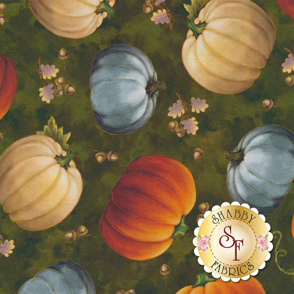 Tossed pumpkins on a green background | Shabby Fabrics