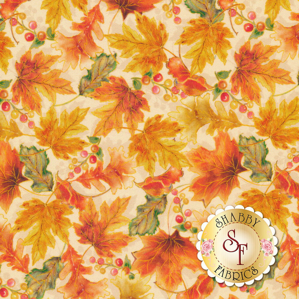 Tossed autumn leaves on a cream background | Shabby Fabrics
