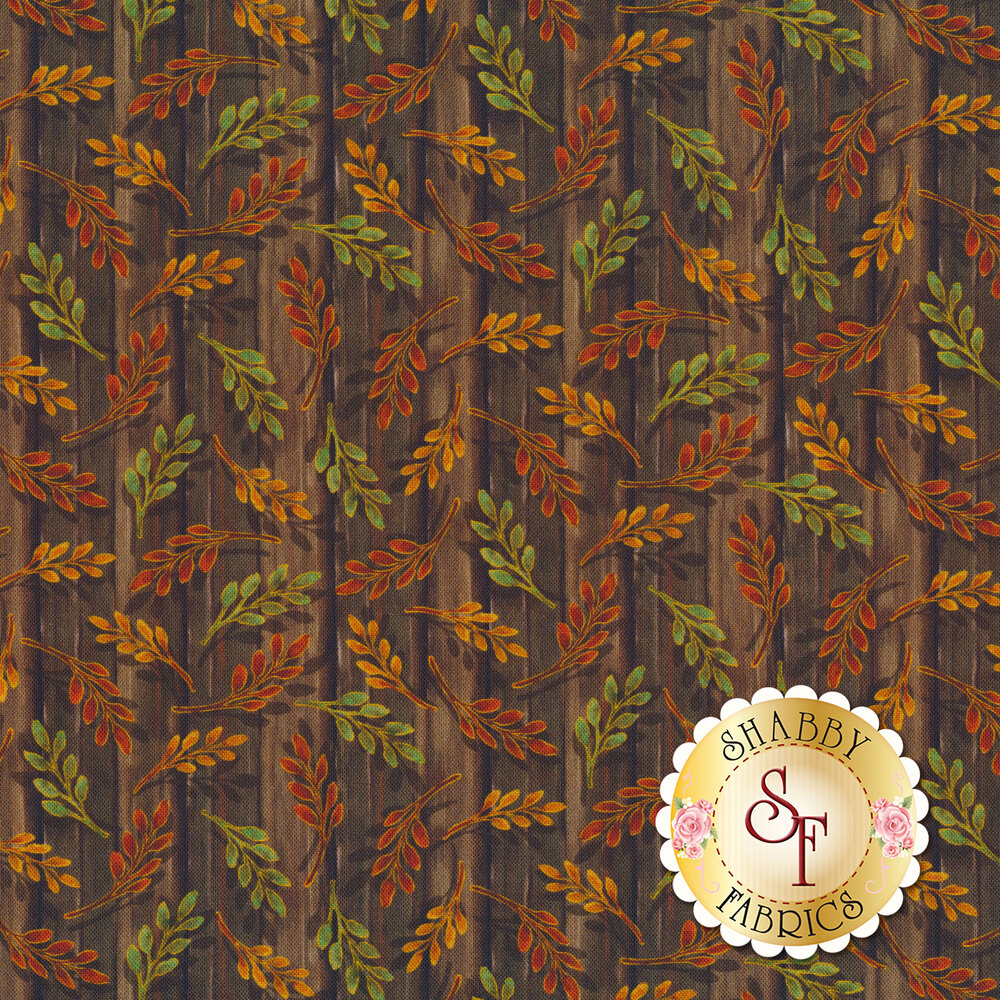 Tossed autumn leaves on a wood textured background | Shabby Fabrics