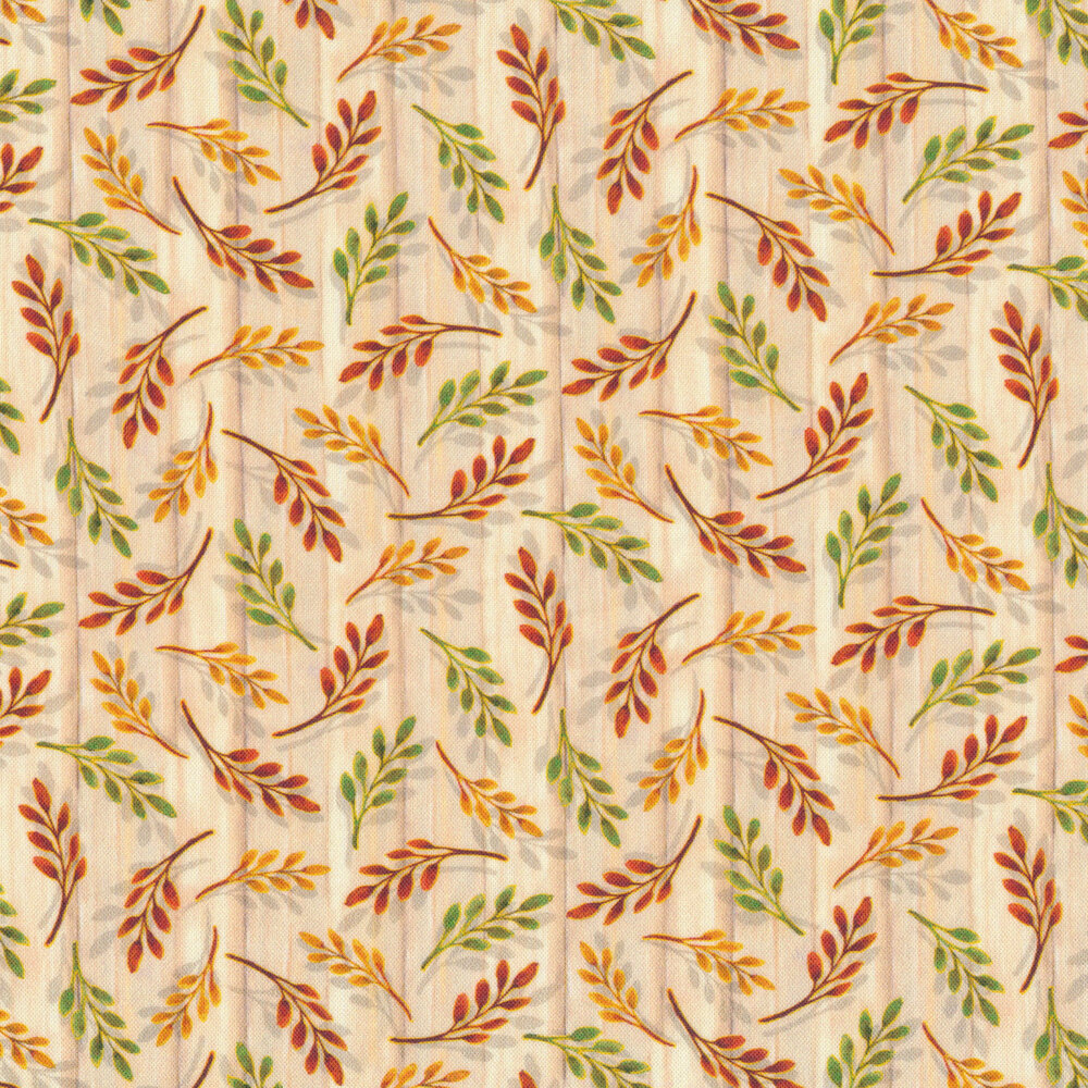 Tossed autumn leaves on a wood textured cream background | Shabby Fabrics