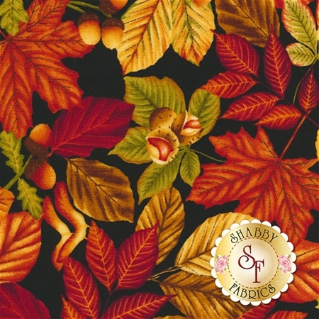 Harvest Gathering 8770-99 Leaves Black by Color Principle for Henry Glass Fabrics