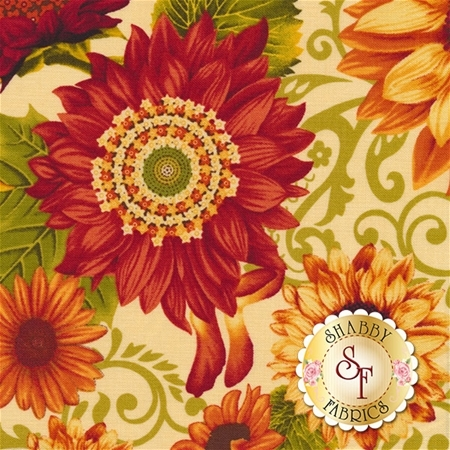 Harvest Gathering 8771-44 Sunflowers Cream by Color Principle for Henry Glass Fabrics