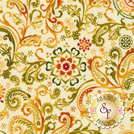 Harvest Gathering 8772-44 Paisley Cream by Color Principle for Henry Glass Fabrics