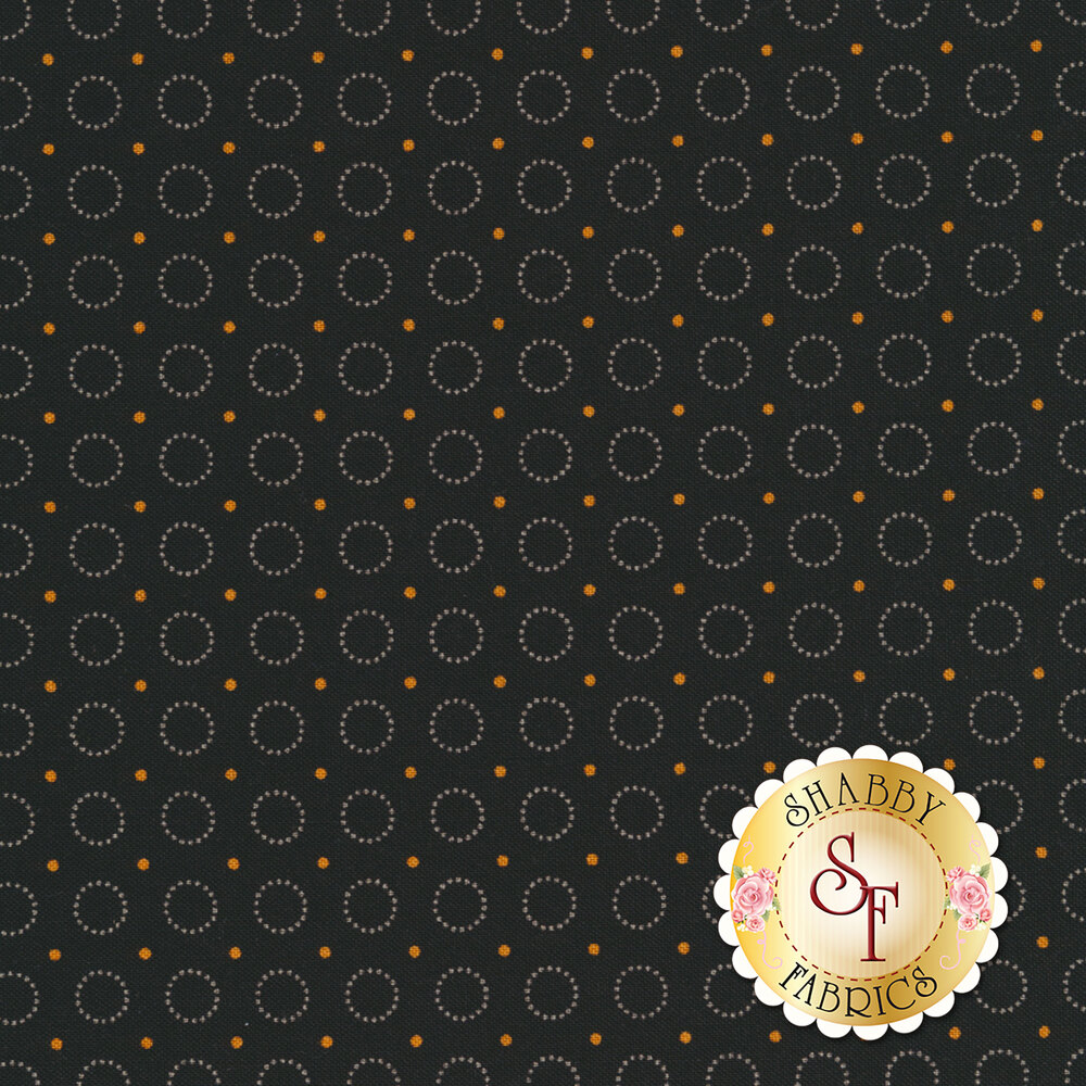 Harvest Moon 8849-K Black Ring Of Dots by Andover Fabrics