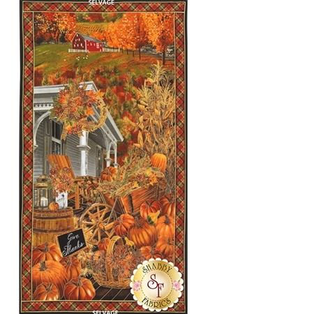 Harvest CM4289-Pumpkin Fall Scenic Panel for Timeless Treasures
