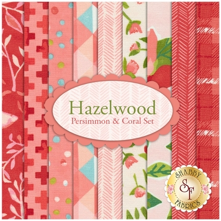 Hazelwood  9 FQ Set - Persimmon & Coral Set by One Canoe Two for Moda Fabrics