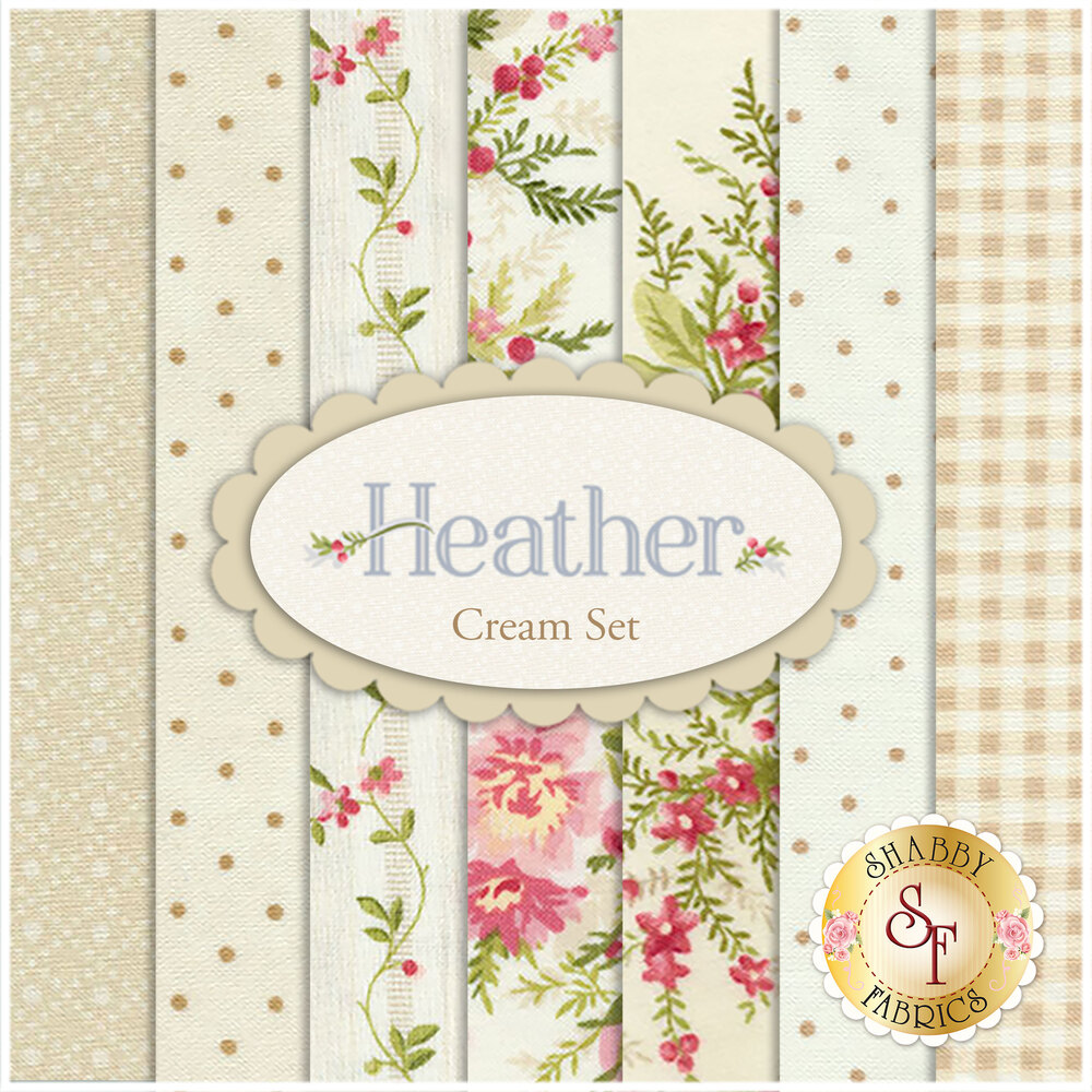 Heather  7 FQ Set - Cream Set by Jennifer Bosworth for Maywood Studio