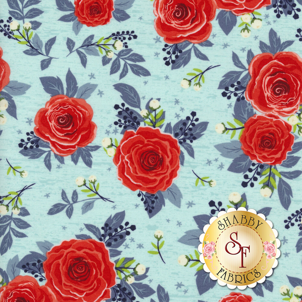 Rose Hedge C7900-AQUA Main Aqua from Penny Rose Fabrics by Kelly Panacci