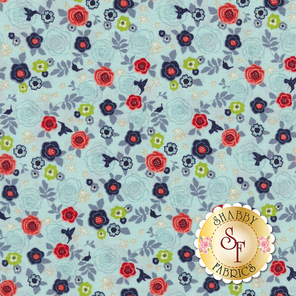 Rose Hedge C7901-AQUA Garden Aqua from Penny Rose Fabrics by Kelly Panacci