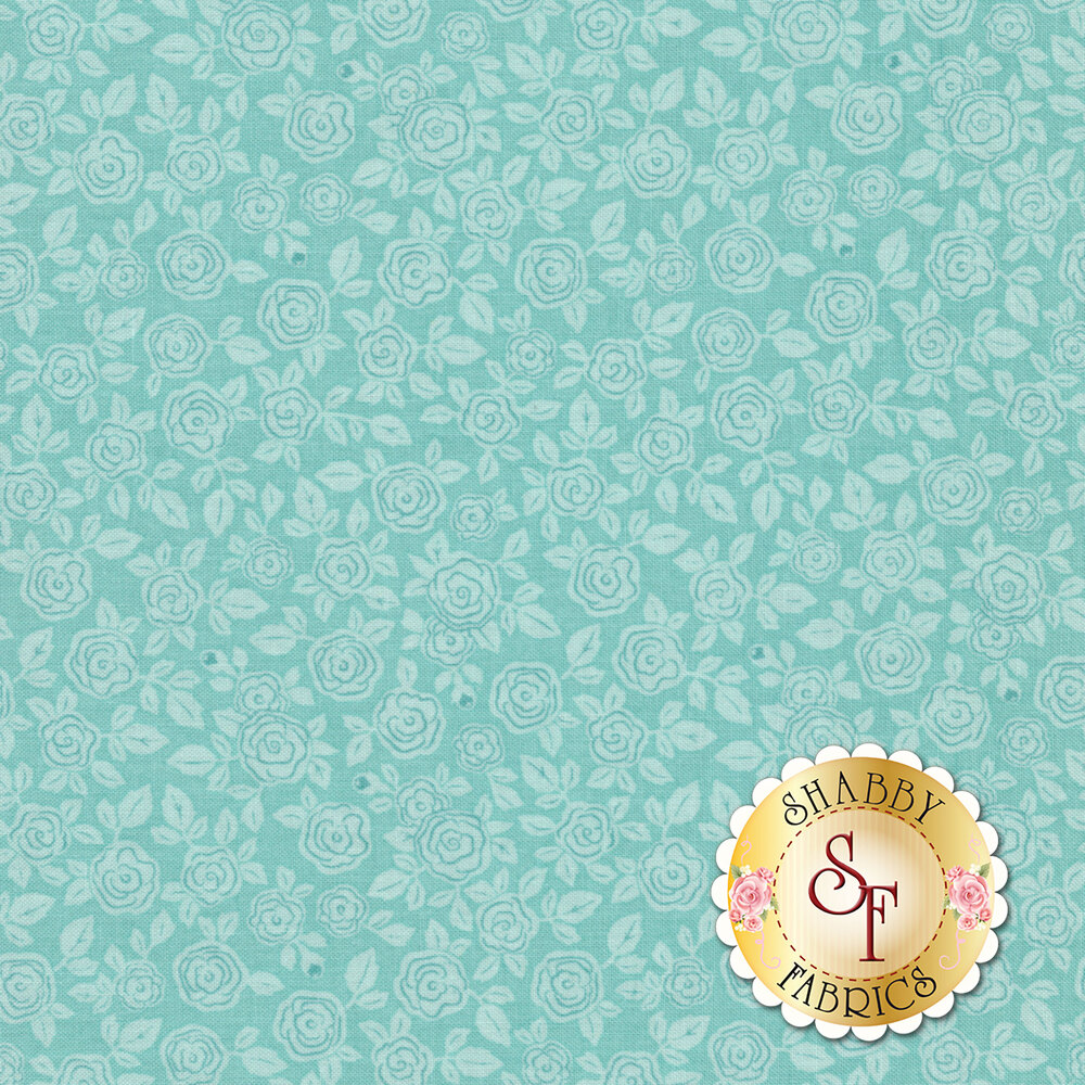 Rose Hedge C7903-AQUA Floral Aqua from Penny Rose Fabrics by Kelly Panacci