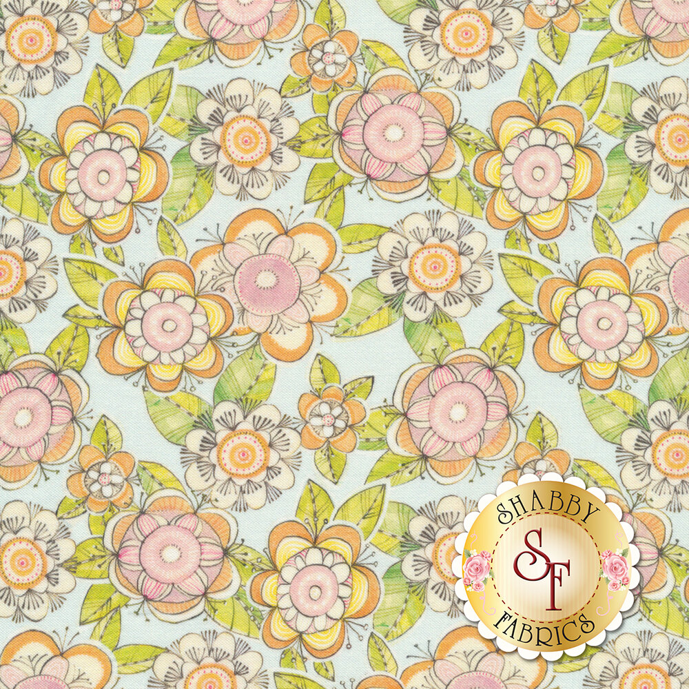 Retro pink and orange flowers all over a cyan background | Shabby Fabrics
