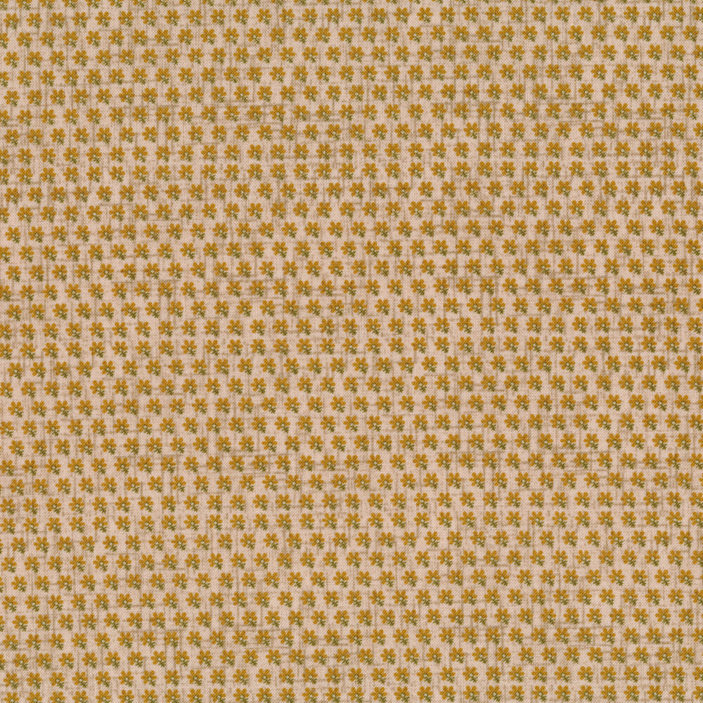 Small brown flowers in a row on a tan background