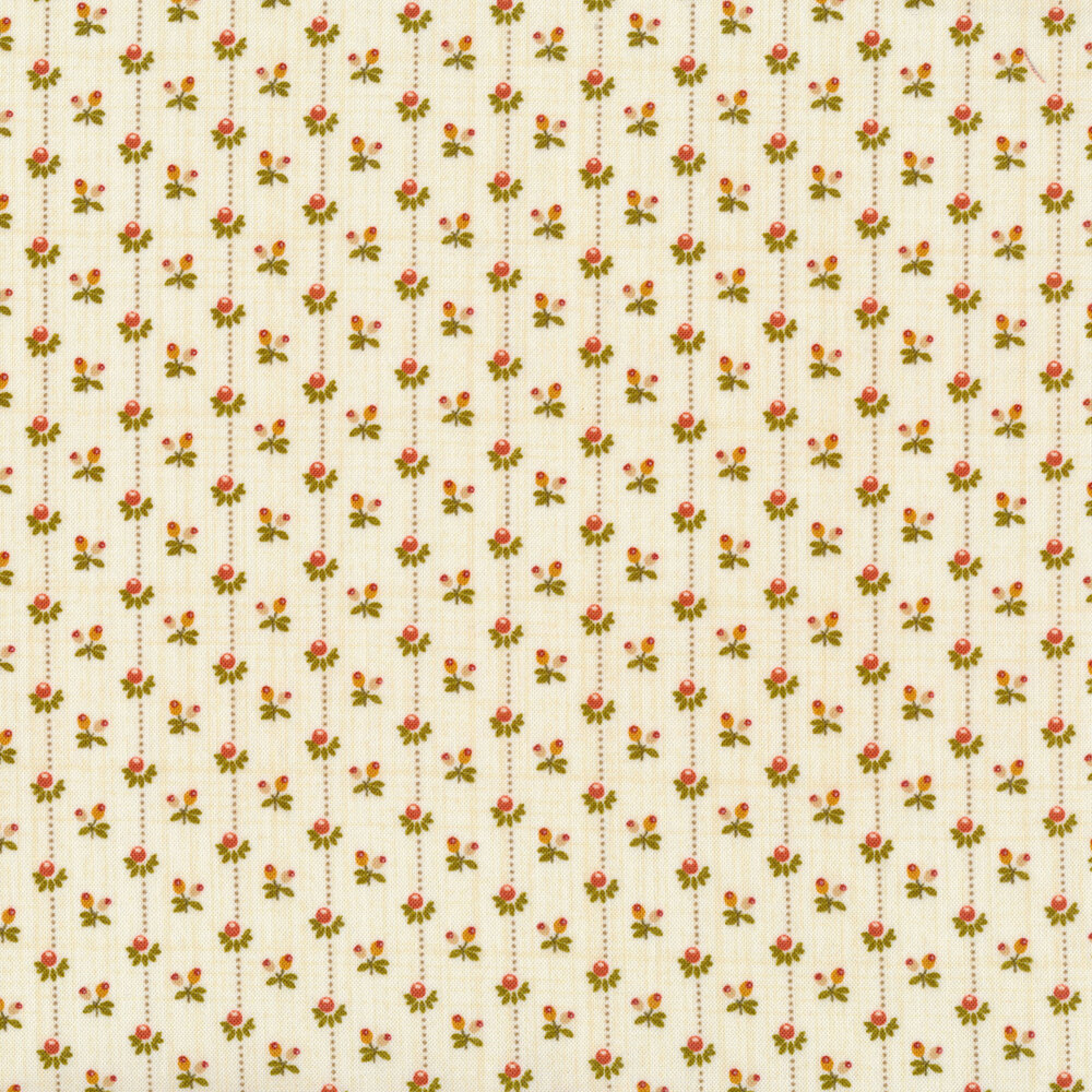 Dotted stripes with flower buds all around on a cream background