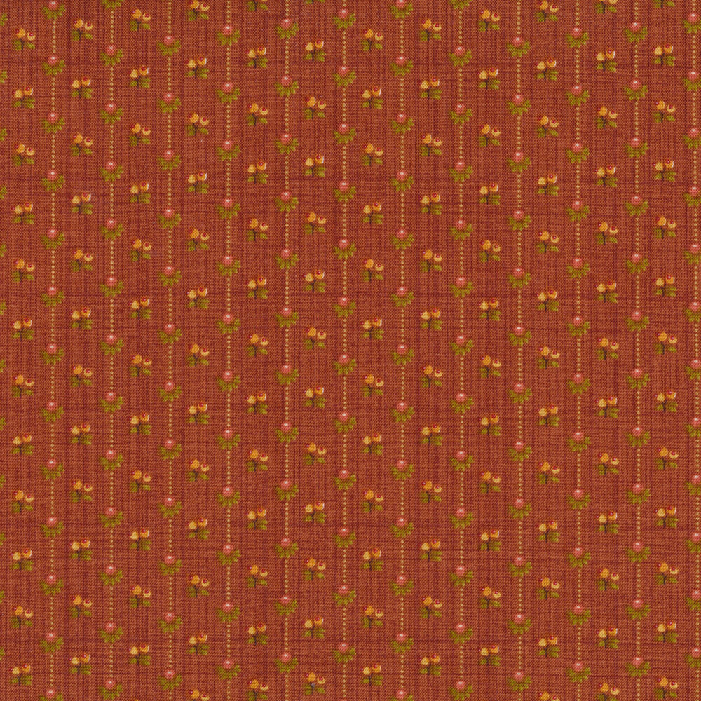 Dotted stripes with flower buds all around on a orange brown background
