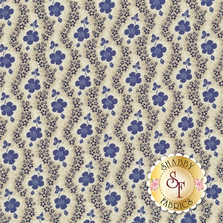 Heritage 540-50 Cream/Blue by Dover Hill Studio for Benartex Fabrics