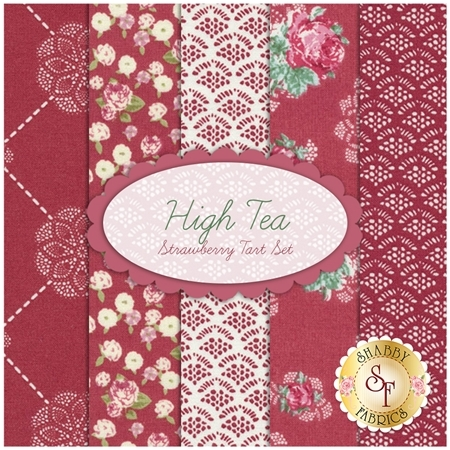High Tea  5 FQ Set - Strawberry Tart Set by Jera Brandvig for Lecien Fabrics