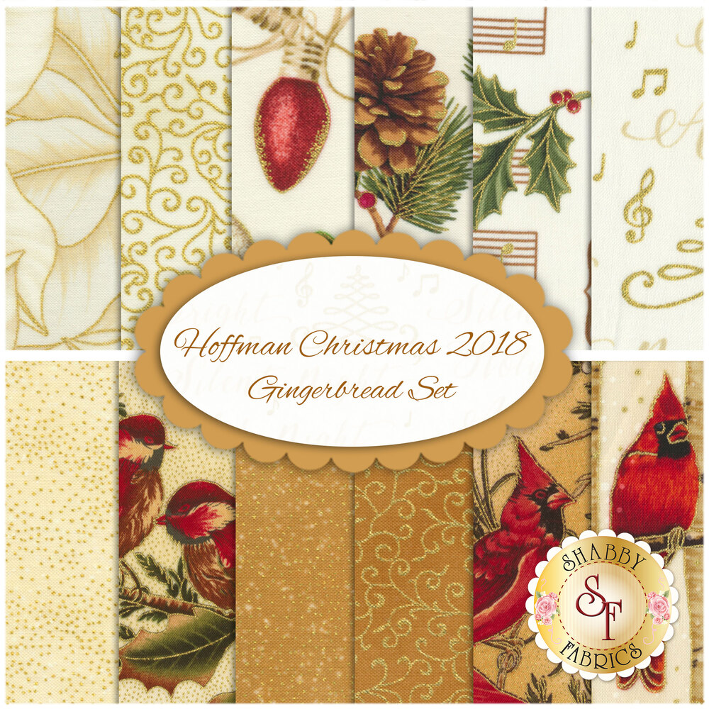 Hoffman Christmas 2018  12 FQ Set - Gingerbread Set by Hoffman Fabrics