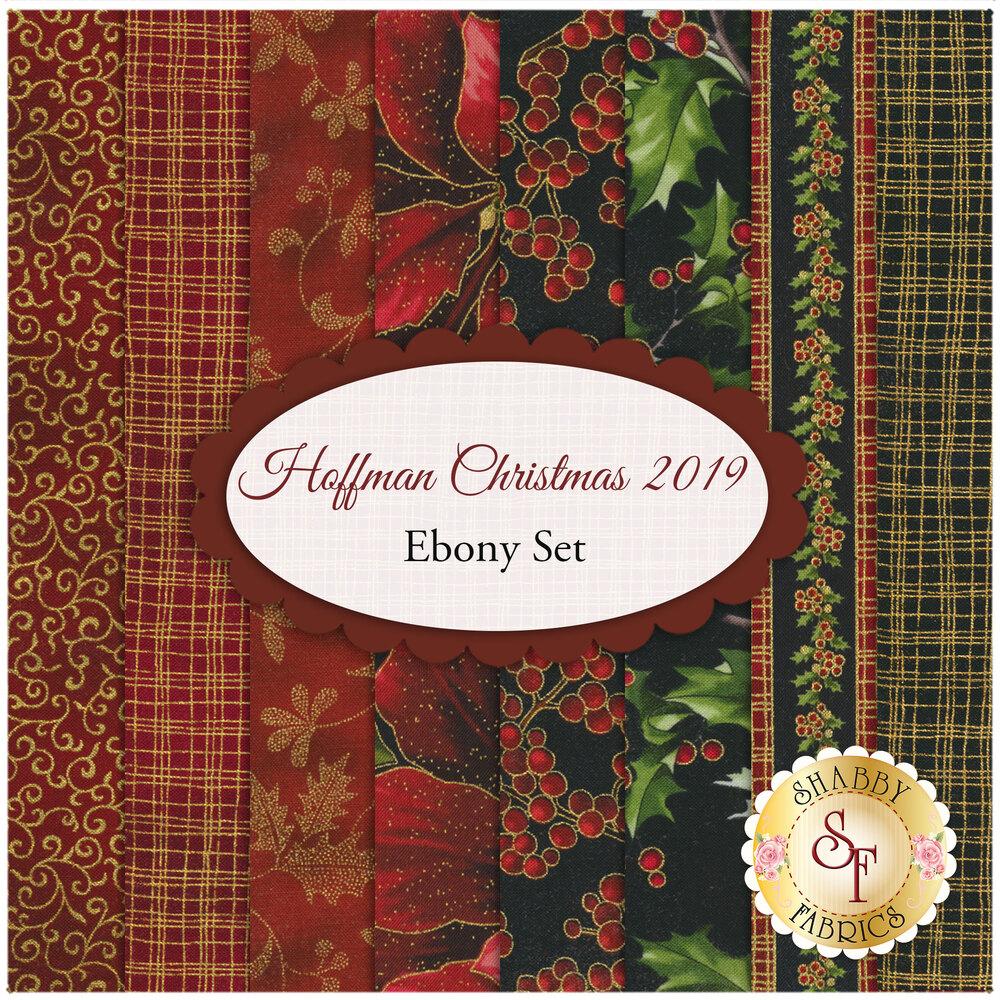 Hoffman Christmas 2019  8 FQ Set - Ebony Set by Hoffman Fabrics