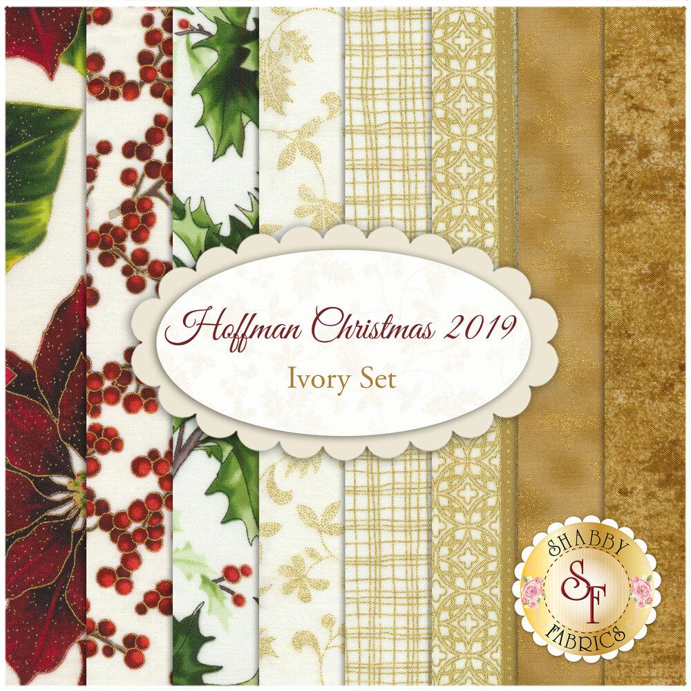 Hoffman Christmas 2019  8 FQ Set - Ivory Set by Hoffman Fabrics