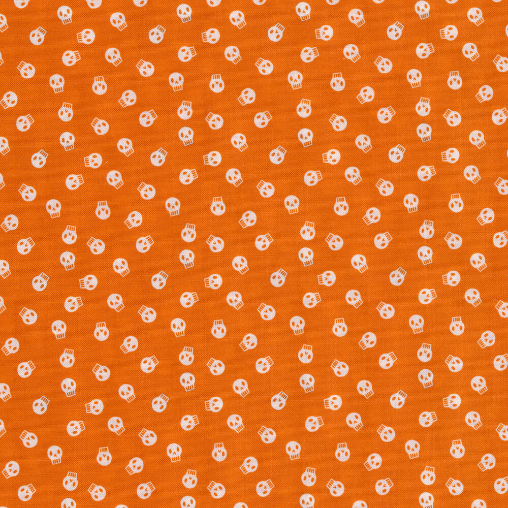 White skulls on an orange background