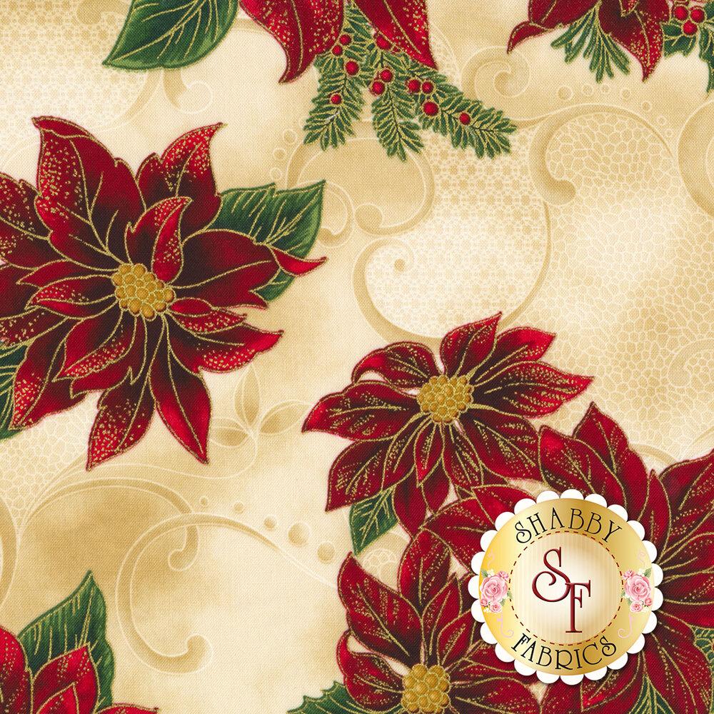 Tossed poinsettias on a mottled, tan background | Shabby Fabrics