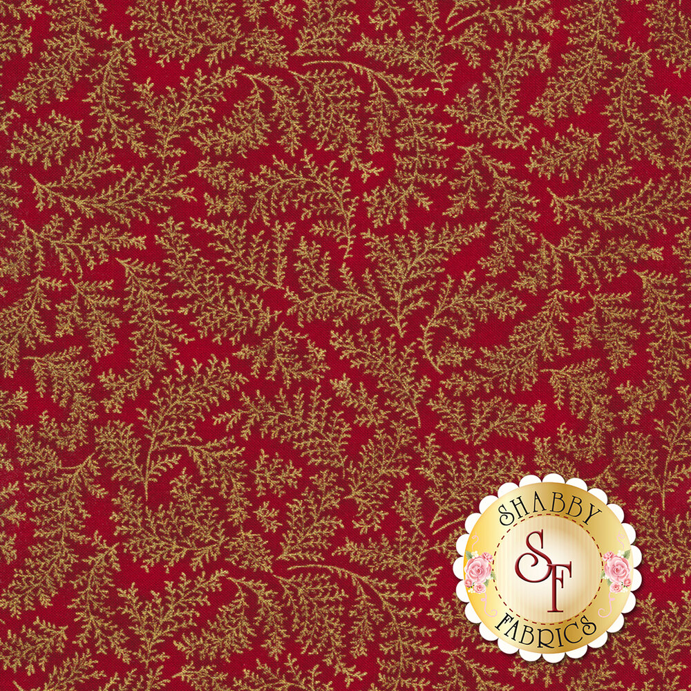 A mottled red fabric with gold metallic leaves | Shabby Fabrics