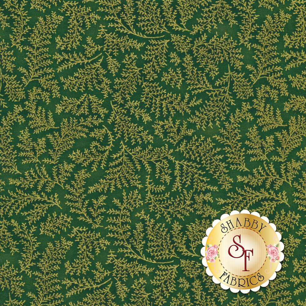 A mottled green fabric with gold metallic leaves | Shabby Fabrics