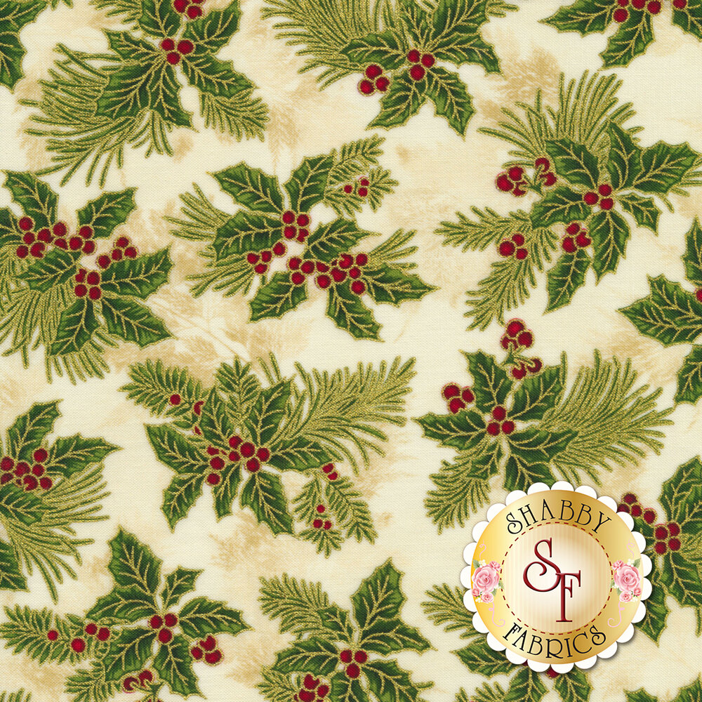 A mottled tan and cream background with holly and berries outlined with gold metallic accents